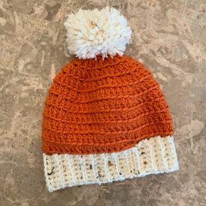 🆕 Hand Crocheted Baby Beanie Hat With Pom Pom